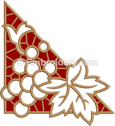 10442 Grape cutwork lace corner