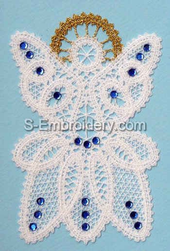 10447 Christmas angel Battenberg lace embroidery