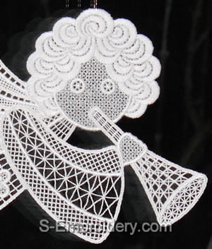 10450 Free standing lace angel Christmas window decoration