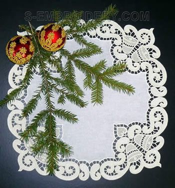 10482 Christmas bells freestanding lace doily set