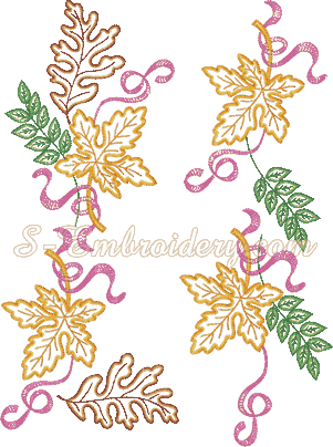 10485 Autumn leaves machine embroidery set