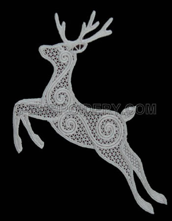 10495 Free standing lace Reindeer Christmas window decoration