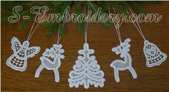 10497 Battenberg lace Christmas ornament set