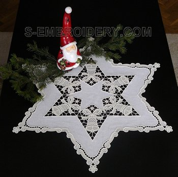 10521 Christmas bells freestanding lace doily embroidery set