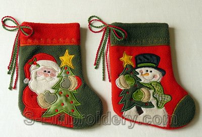 10530 Christmas stocking applique embroidery set
