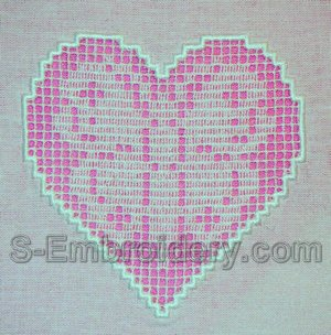 10537 Crochet heart free standing lace embroidery