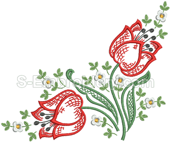 10542 Tulips machine embroidery set