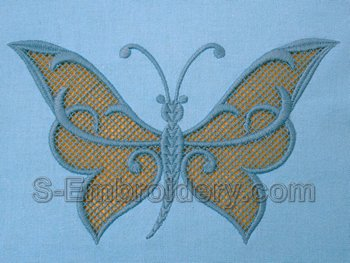 10543 Butterfly cutwork lace embroidery