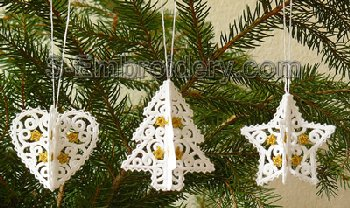 10557 3d free standing lace christmas ornaments