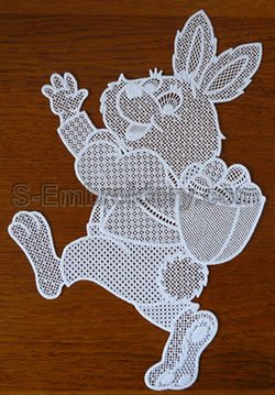 10573 Easter Bunny free standing lace window decoration