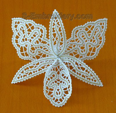 10584 3D Orchid free standing lace embroidery