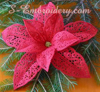 10593 Poinsettia Christmas machine embroidery set