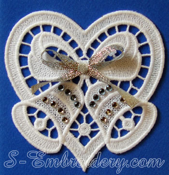 10594 Christmas bells and heart embroidery set