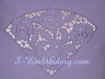 10601 Pansy cutwork lace machine embroidery design