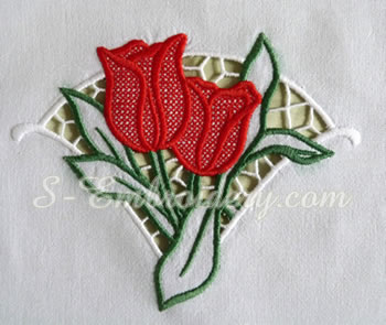 10608 Tulips cutwork lace machine embroidery design