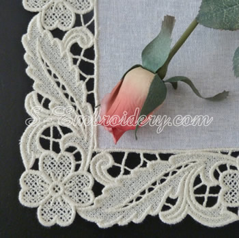 10620 Floral free standing lace edging machine embroidery set