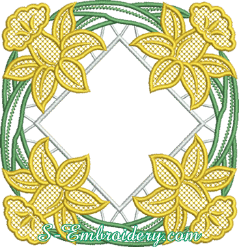 10628 Daffodils cutwork lace machine embroidery design