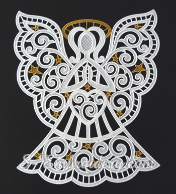 10634 Freestanding lace Christmas angel window ornament