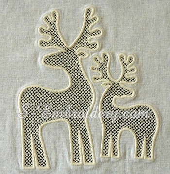 10640 Reindeer cutwork lace machine embroidery set