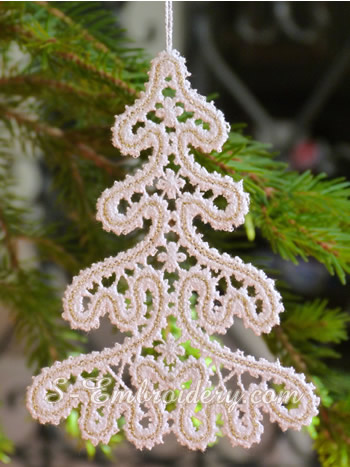 10641 Christmas tree Battenberg lace machine embroidery