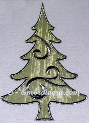10642 Christmas tree applique machine embroidery set