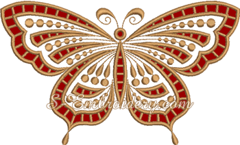 10645 Butterfly cutwork lace machine embroidery