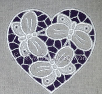 10654 Hearts and butterflies cutwork embroidery set