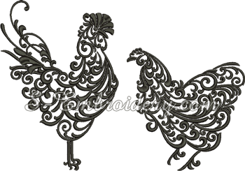 10655 Hen and rooster machine embroidery set