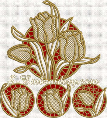 10661 Tulips cutwork embroidery set