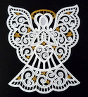 10634 Freestanding lace Christmas angel window ornament