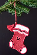 10665 Free standing lace Christmas stocking
