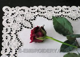 Floral free standing lace table runner