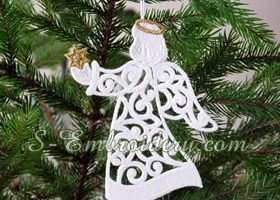 Christmas angel fs lace ornament