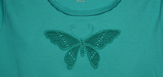 Tshirt with cutwork lace butterfly embroidery