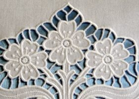Flower vase cutwork lace machine embroidery